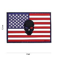 Patch 3D drapeau USA + tete de mort