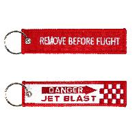 Porte clés REMOVE BEFORE FLIGHT DANGER JET BLAST